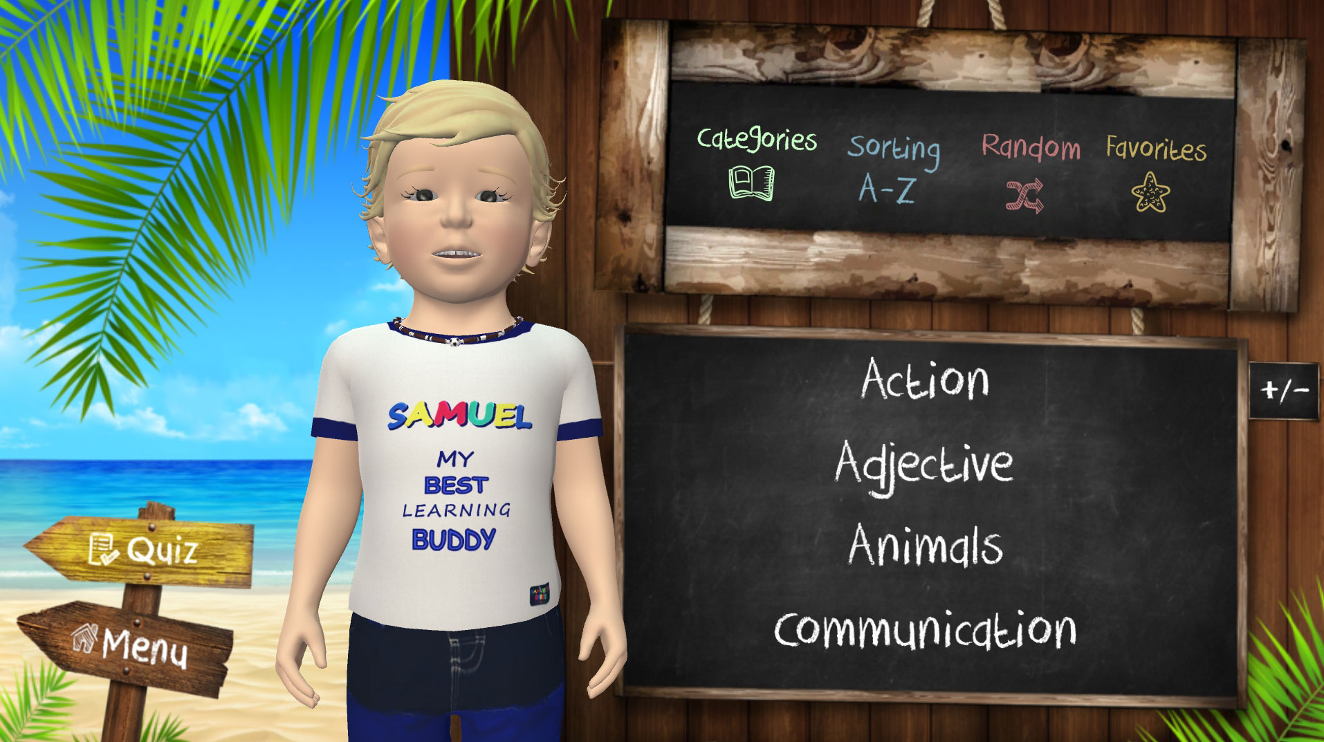 Samuel Signs - Educational Games - Mobile application - categories