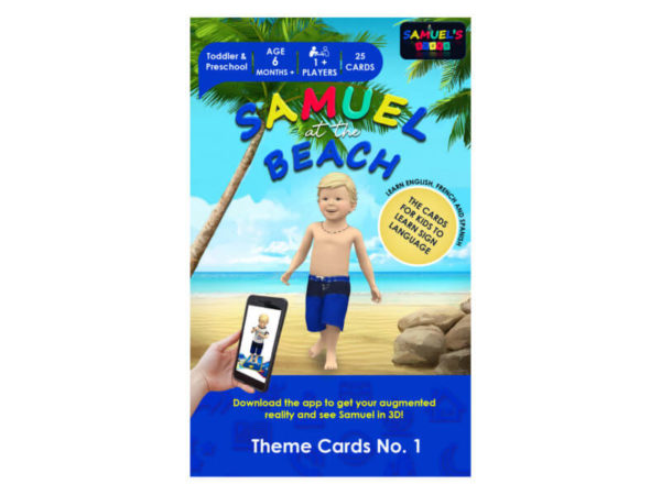 Samuel at the Beach - theme cards No. 1 package - educational game - simplified sign language